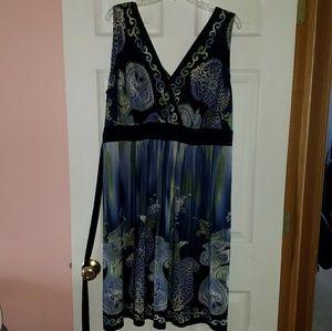 Blue & Green Sleeveless Dress